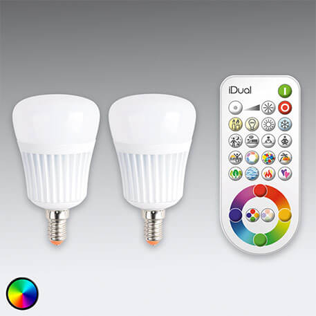 iDual E14 LED lamp 2-pack zonder afstandsbediening