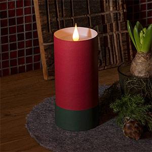 LED kaars in cilinder met deksel - 3D vlam, rood
