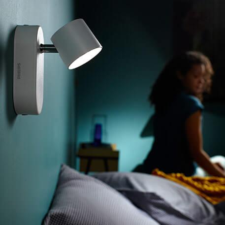 Witte LED-wandlamp Star, zwenkbaar