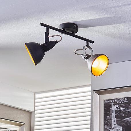 Tweelamps plafondlamp Julin, zwart-goud