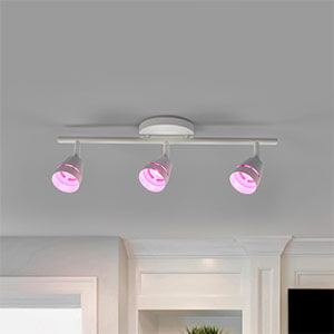 Driekoppige LED plafondspot Ivory met afstandsbed