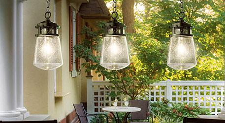 Buitenhanglamp Lyndon met glazen lampenkap
