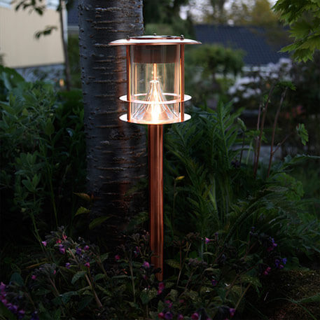 Koperkleurige tuinpadverlichting Juno met led's