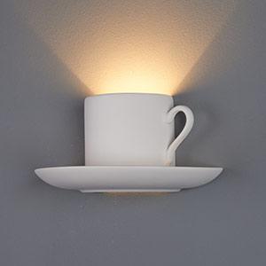Beschilderbare gipsen wandlamp Pocillo