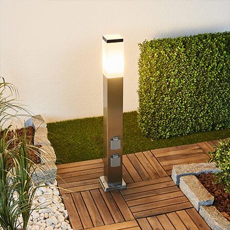 LED RVS tuinpadverlichting Luis met contactdozen
