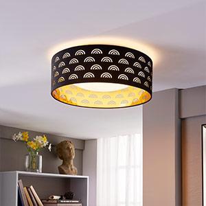 Jorunn - textiel LED plafondlamp, zwart en goud